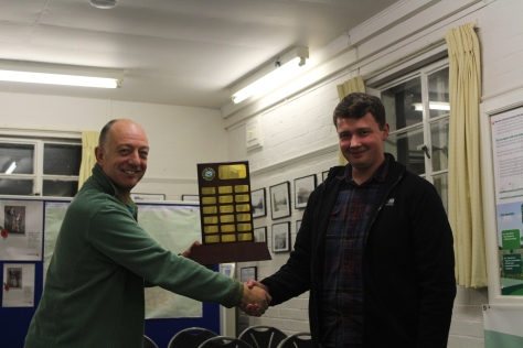 IPMS Middleton Cheney Kit Basher of the Year for 2016 is Martin Aris (left), presented with the trophy by last year's winner Rob French (right).