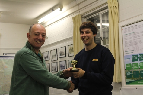 IPMS Middleton Cheney Most Inspired Modeller for 2016 is Sam Evins (right), presented with the trophy by club chairman Martin Aris (left).